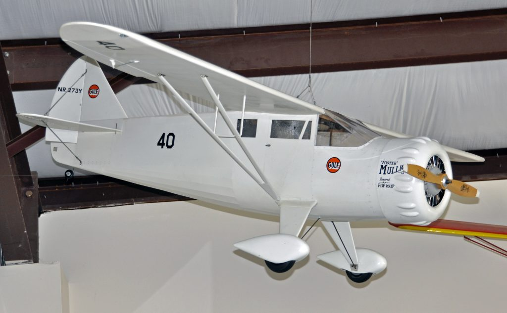 """Dick Stewart of Newark, DE donated this large scale R/C model of famous 1935 Air Racer """"Mister Mulligan"""" NR273Y. Ben Howard and """"Mister Mulligan"""" were the only pilot and aircraft to capture both the Bendix and Thompson trophies in the same year when they did so at the 1935 National Air Races in Cleveland, OH."""