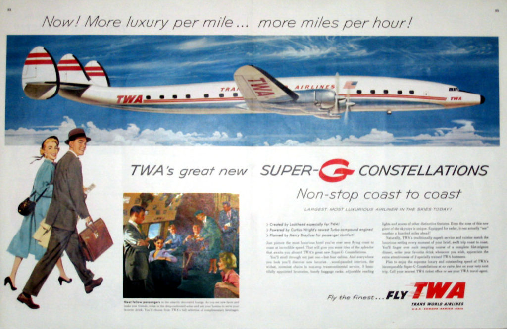 The Super G Constellation (L 1049G) Note: Rounded Wing Tips.